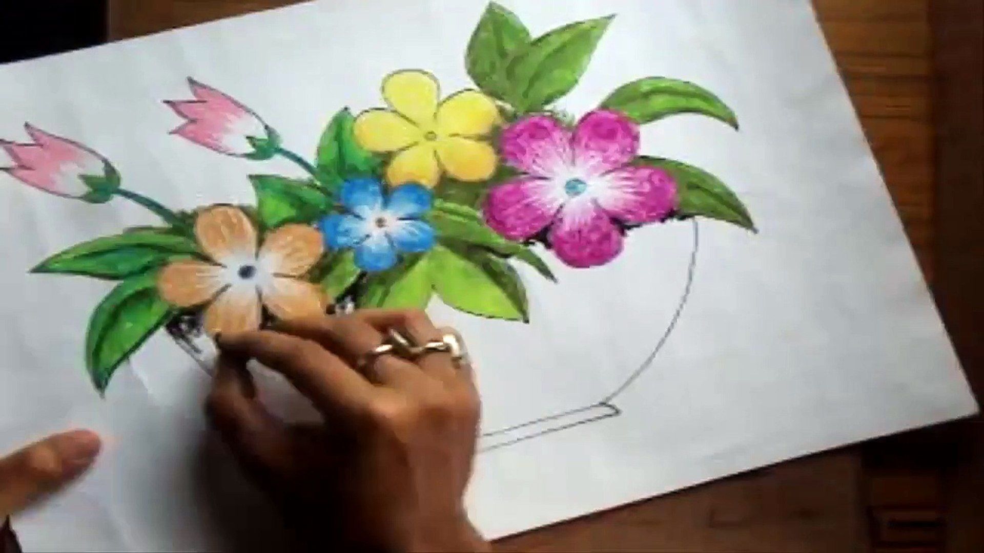 How To Draw A Flower Vase With Oil Pastel Short Version Video Dailymotion