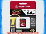 Transcend 64 GB High Speed Class 10 UHS Flash Memory Card Up to 90 MB/s TS64GSDXC10U1