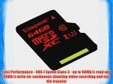 Kingston Digital 64GB microSDXC UHS-I Speed Class 3 U3 90R/80W Flash Memory Card with Adapter