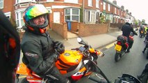 Lil Woman Pillion owns all us 'Tough' Guys. Essex ride out. No Pedals!