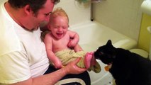 The Cat Is Hungry for Baby Toes | Cat Licking Baby Toes