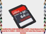 SanDisk Ultra 64GB SDXC Class 10/UHS-1 Flash Memory Card Speed Up To 30MB/s- SDSDU-064G-U46