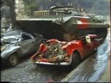Unique war. Before fight, car press by BMP and spectacle's unarmed viewers. Tbilisi, Georgia 12.1991