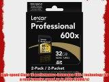 Lexar Professional 600x 32GB SDHC UHS-I Flash Memory Card LSD32GCRBNA6002 - 2 Pack