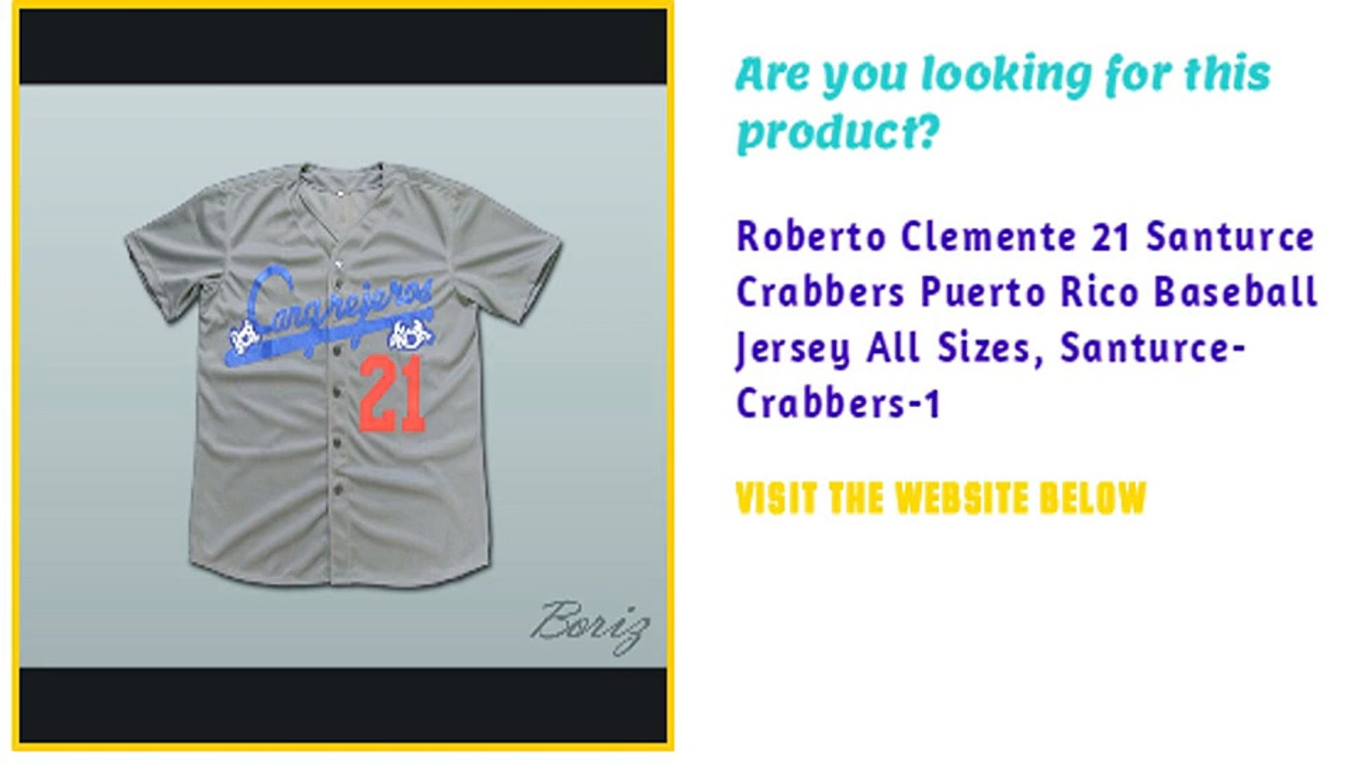 reputable site 44d29 01969 Roberto Clemente 21 Santurce Crabbers Puerto Rico Baseball Jersey All Sizes