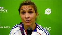 Les réactions de Laetitia Blot après son élimination aux championnats d'Europe de Bakou.