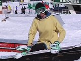 Snowboarding: 50/50 Box & Handrail Grinds : Snowboarding: Ride & Dismount a 50/50 on a Handrail