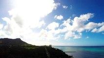 Time lapse in Hawaii, Honolulu overlooking Diamond Head peak from our hotel
