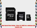 Kingston 16 GB Class 10 MicroSD Flash Card with 2 Adapters (Mini and SD) SDC10/16GB-2ADP