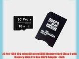 3C Pro 16GB 16G microSD microSDHC Memory Card Class 4 with Memory Stick Pro Duo MSPD Adapter