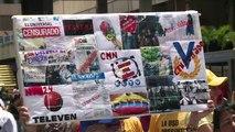 Jornalistas protestam por liberdade de expressão na Venezuela