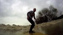 Scrumpy Dog Surfing the Severn Bore