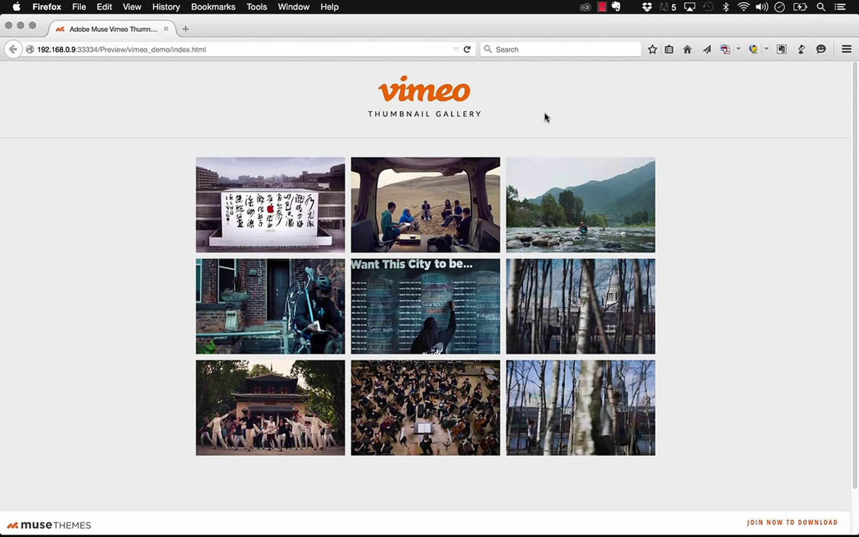 Vimeo Video Gallery in Adobe Muse CC - Widget Tutorial | MuseThemes com