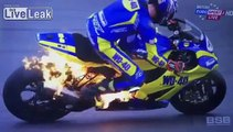 BSB cyclist's bike explodes into flames forcing him to leap off 3