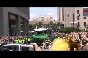 Chara and Thomas. 2011 Boston Bruins NHL Championship Parade. Boston MA. Holding Stanley Cup Trophy.