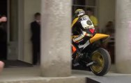 MotoGP legend Valentino Rossi given fantastic Goodwood reception as he drives straight into Goodwood House...