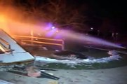 (Raw Video)  Morris,IL  House Explosion & Fire,Large House Fully Involved In Fire