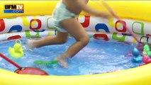 Canicule: atelier piscine dans une crèche pour rafraîchir les enfants
