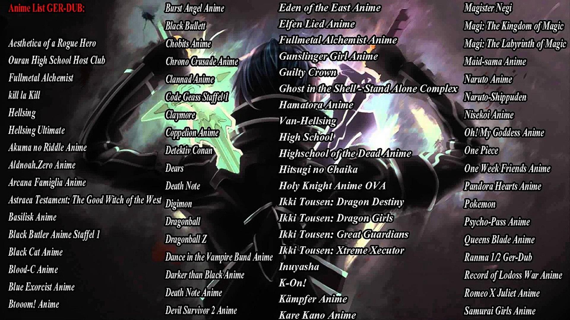 German dub anime liste