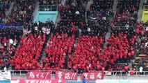 280名の日本一のサッカー部員での応援 【ハーフタイム】 第93回全国高校サッカー選手権2014 東福岡×九国大付