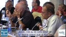 AGDE - 2015 - ( 2 ) CONSEIL MUNICIPAL du 30 JUIN DEBAT SUR LE PLU 2015
