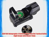 VERY100 Holographic 4 Reticle Red/Green Dot Tactical Reflex Sight Scope with Mount 11mm