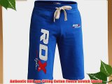 Authentic RDX Pro Fleece Shorts UFC MMA Gym Bottoms Mens Sports Gym Pants Boxing Running Blue