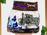 TWS-871 Twins White-Blue Tribal Muay Thai Shorts Size L K1 Thai boxing MMA K-1 Kick Boxing