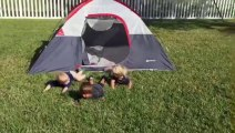 5 kids fall while getting out of the tent like dominos