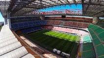 Drone flight football stadium San Siro - Milan. AC Milan Inter Milan