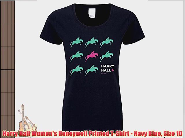 Harry Hall Women's Honeywell Printed T-Shirt – Navy Blue Size 10