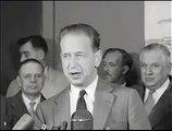 Dag Hammarskjöld meets the press before Middle East trip (1957)