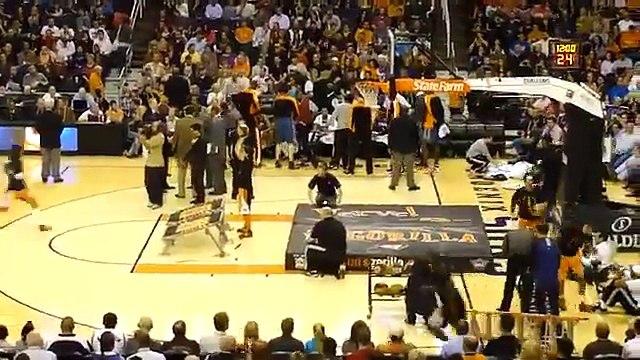Guy dunks himself through Basketball Hoop, Phoenix Suns Gorilla Original Boy gets dunked