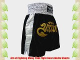 Art of Fighting Muay Thai Kick Boxing Adults Shorts Black Silver and Gold (L)