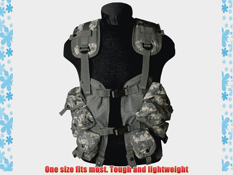 Tactical Load Bearing Vest Adjustable Airsoft Webbing Shooting Woodland Camo