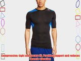 adidas Techfit Cool Men's Short-Sleeved Shirt Black Black/Blue Beauty/Black Size:Small
