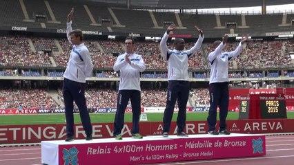 Le podium olympique du 4x100 m au Meeting Areva !