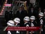 23ENE 2242 TV7 MARIANO RAJOY, PRESIDENTE DEL GOBIERNO ESPAÑOL, LLEGÓ A LIMA Y FUE RECIBIDO POR PEDRO CATERIANO, MINISTRO DE DEFENSA