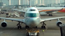 Boeing 747-400 Cathay Pacific. Hong Kong. Plus Airbus A380 taxing to take off
