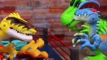 Jurassic World Playskool Toy Review and Dinosaur Tug of War with T Rex Raptor and Stegosaurus