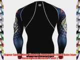 Fixgear Sports Mens Womens Compression Black Base layer Running Skull Printed T shirt L