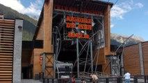 Chamonix cable car and Mont Blanc (aiguille Midi)