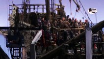 Geoffrey Rush as Captain Barbossa on the deck of the mystery ghost ship ##### Mary
