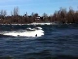 River surfing in Chambly rapids