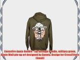 Ceasefire Annie Hoodie - Zip through hoodie military green Annie WoD pin-up art designed by