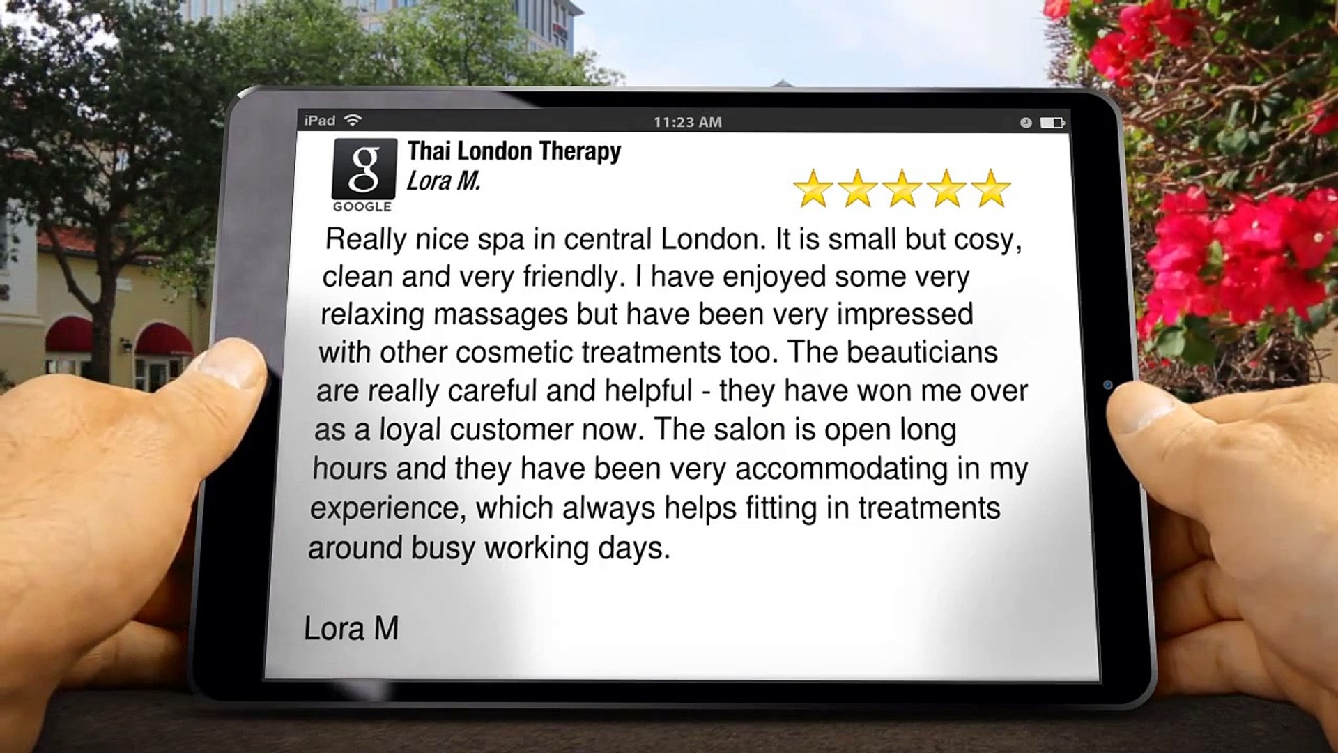 Thai London Therapy Baker Street Terrific 5 Star Review by Lora M