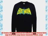 DC Comics Men's DC0000586 DC Comics Official Batman Retro Logo Crew Neck Long Sleeve Sweatshirt