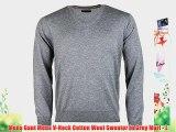 Mens Gant Mens V-Neck Cotton Wool Sweater in Grey Marl - L