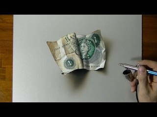 How to Draw an old One Pound Note - Drawing Time Lapse - 3D Art