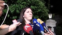 Greece's parliament speaker Zoi Konstantopoulou speaks to the media